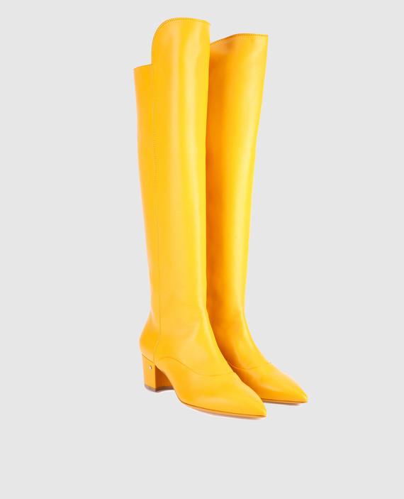 Желтые кожаные сапоги hover