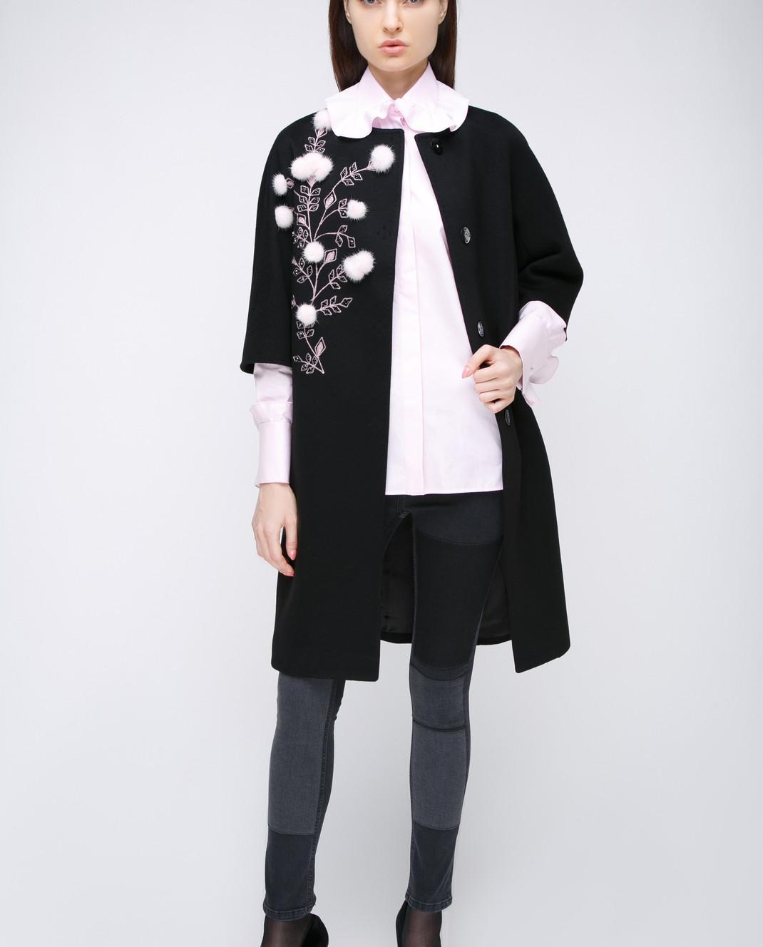 Heresis Черное пальто с меховыми деталями M9095RO изображение 2