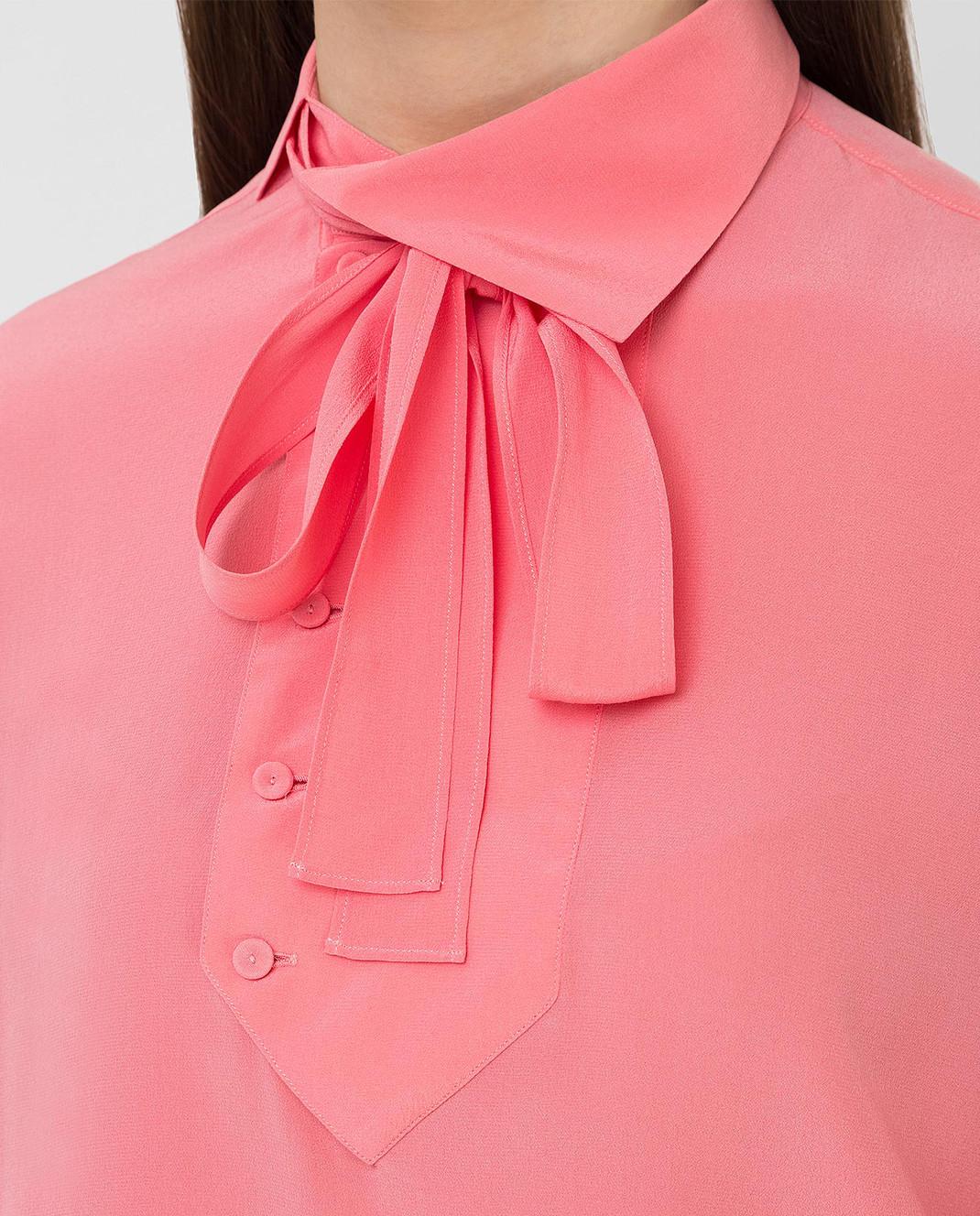 Valentino Коралловая блуза из шелка MB0AB08F21B изображение 5