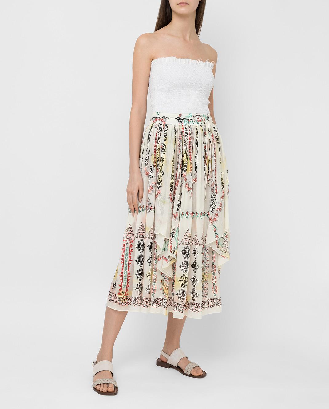 Etro Светло-бежевая юбка из шелка D18711 изображение 2