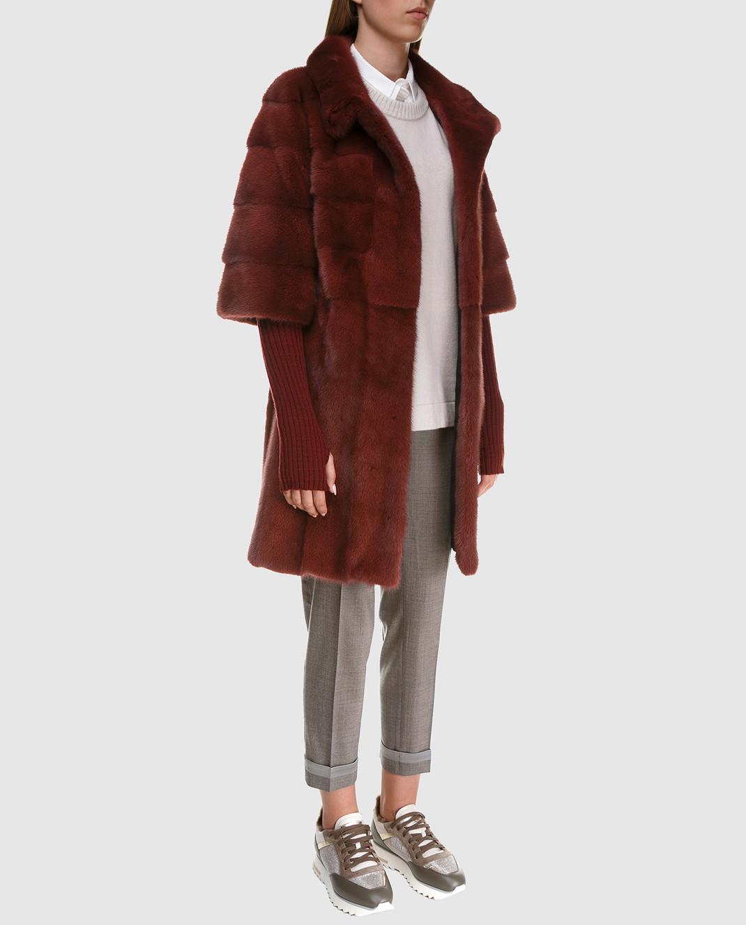 Florence Mode Бордовая шуба из меха норки с поясом и митенками 18N145SILVERBLU изображение 2