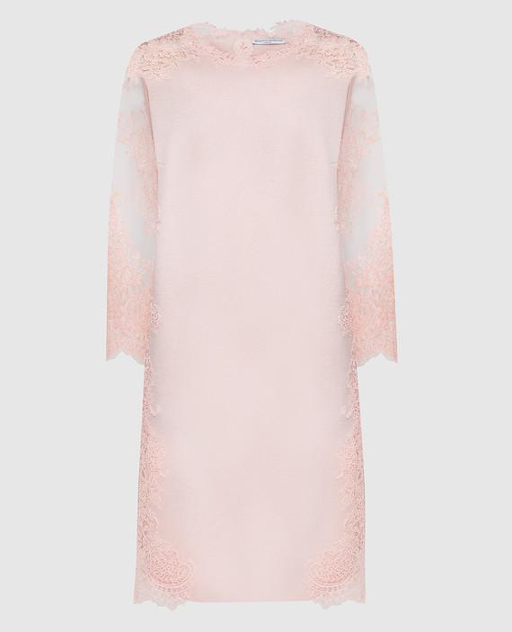 Розовое платье из шерсти, шелка и кашемира