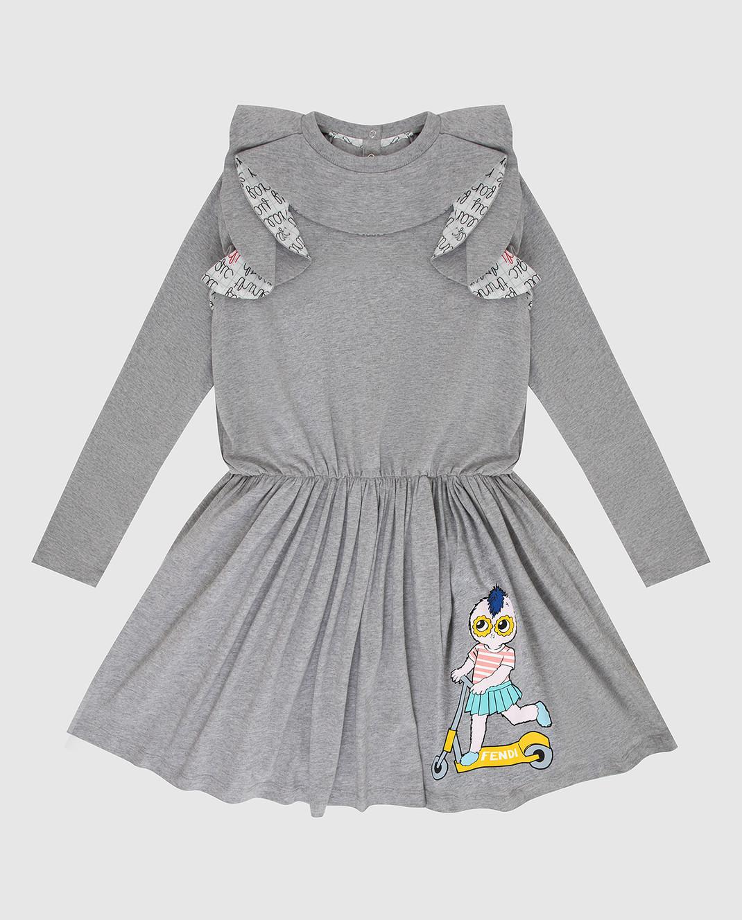 Fendi Детское серое платье JFB19667