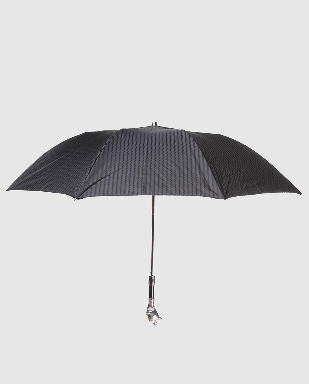 Pasotti Черный полуавтоматический зонт изображение 2