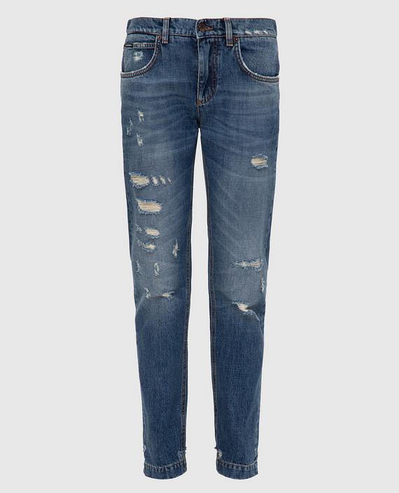 Синие джинсы с аппликацией