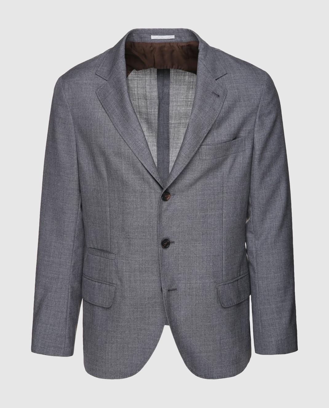 Brunello Cucinelli Серый пиджак из шерсти MF4237BTD