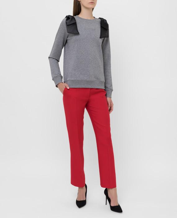 Красные брюки из шерсти и шелка hover