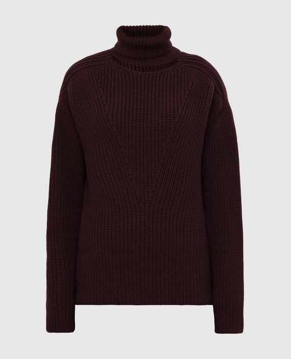 Бордовый свитер из кашемира