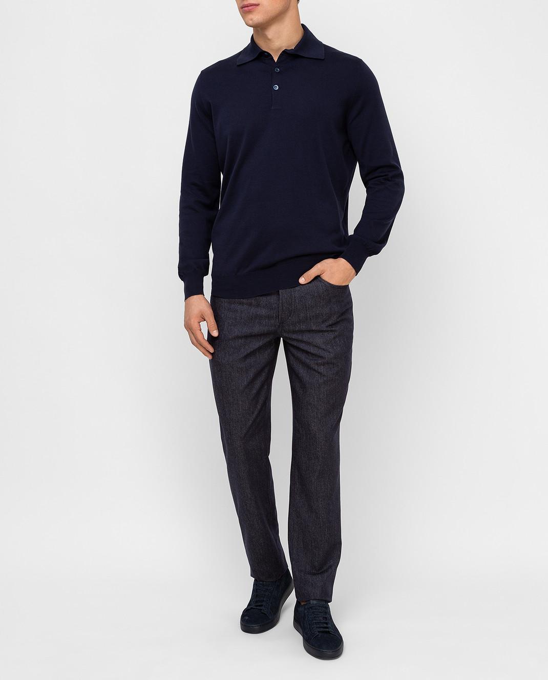 Brunello Cucinelli Темно-синие брюки из шерсти изображение 2