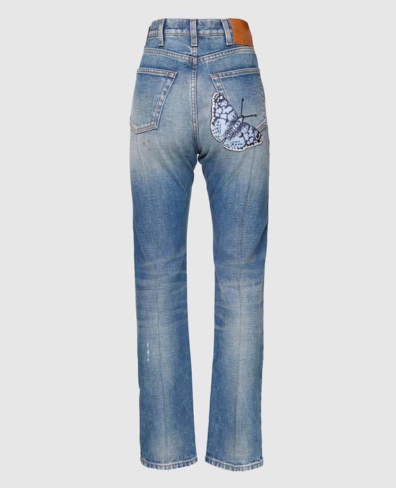 Синие джинсы с вышивкой hover