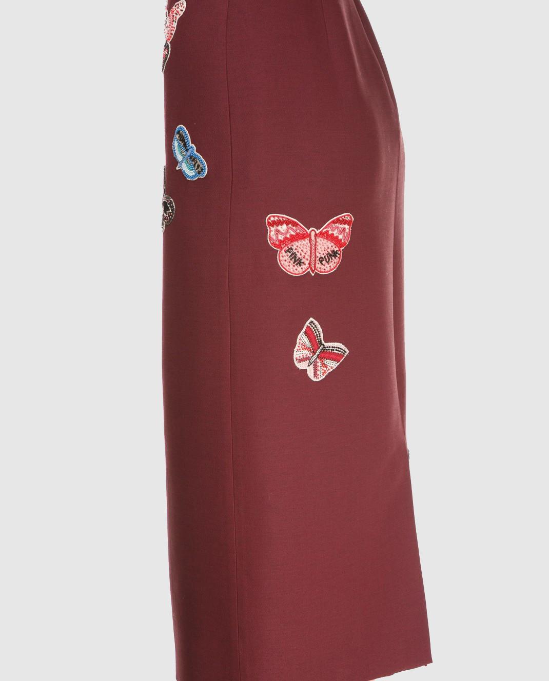 Valentino Бордовая юбка  из шерсти и шелка PB3RA2B01CF изображение 3