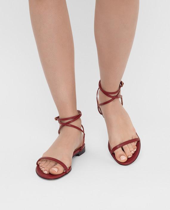 Бордовые кожаные сандалии hover