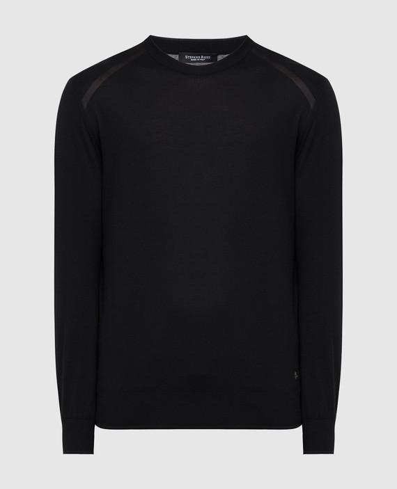 Черный джемпер из шерсти и шелка