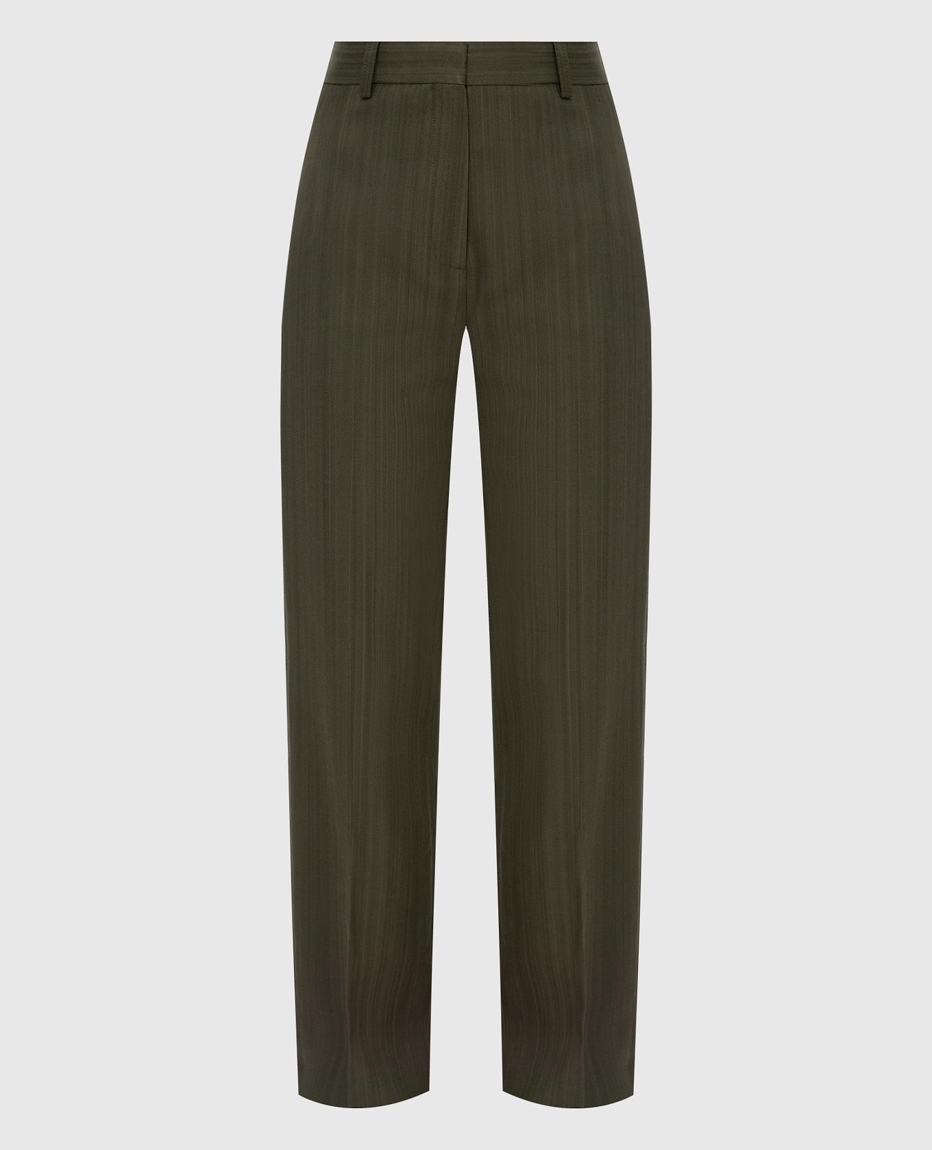 Брюки с защипами Toteme, Хаки, Повседневные брюки casual