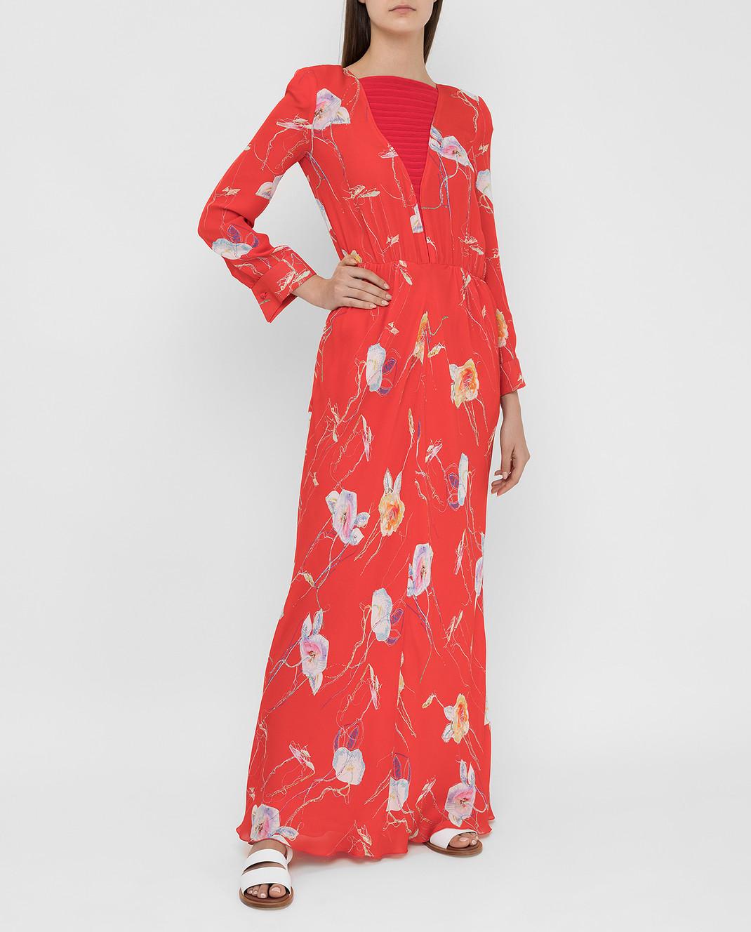 Armani Коралловое платье из шелка изображение 2