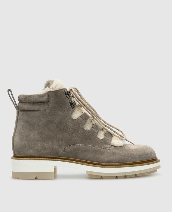 Темно-бежевые замшевые ботинки на меху