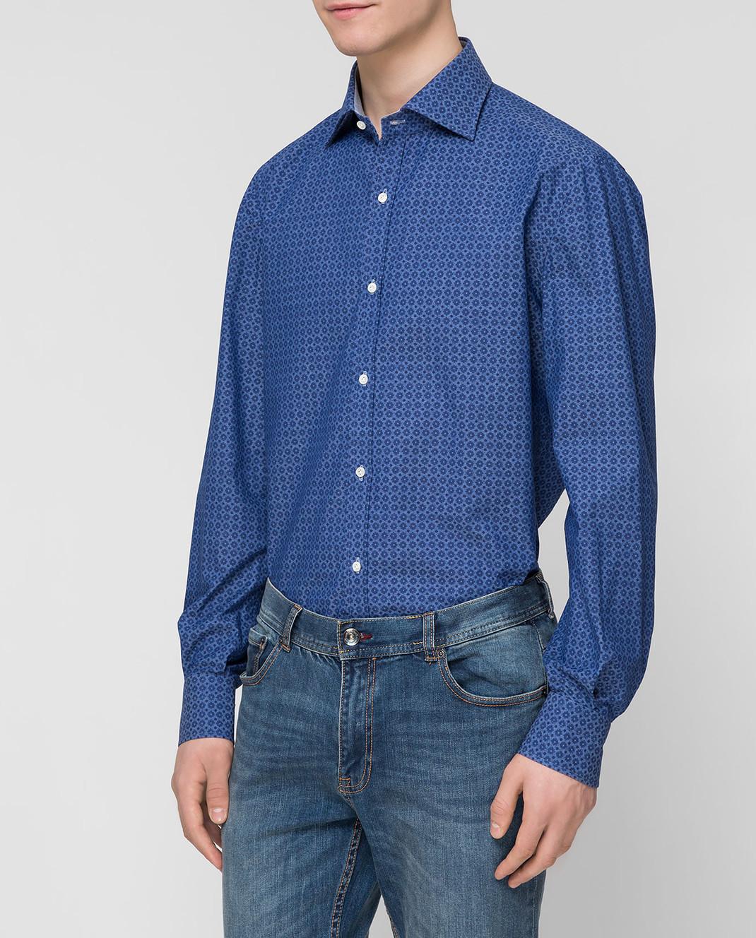 ISAIA Синяя рубашка CAM088C6083 изображение 3