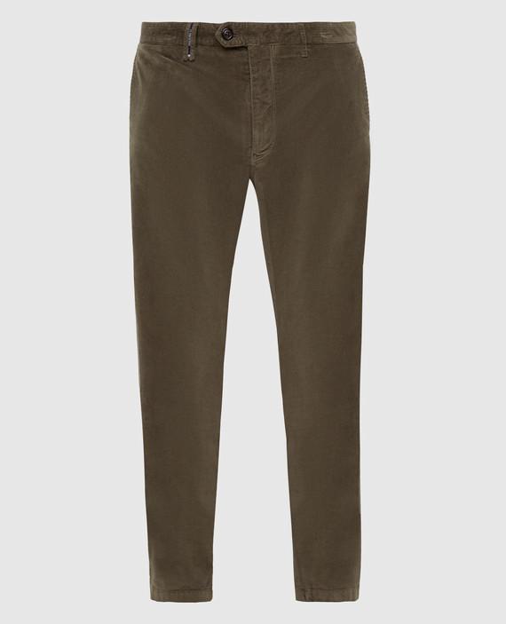 Зеленые вельветовые брюки