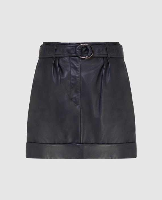 Темно-синяя кожаная юбка
