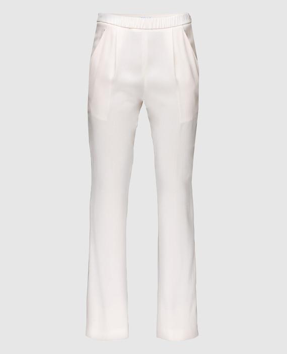 Бежевые брюки из шелка