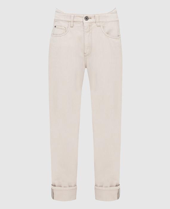 Светло-бежевые джинсы
