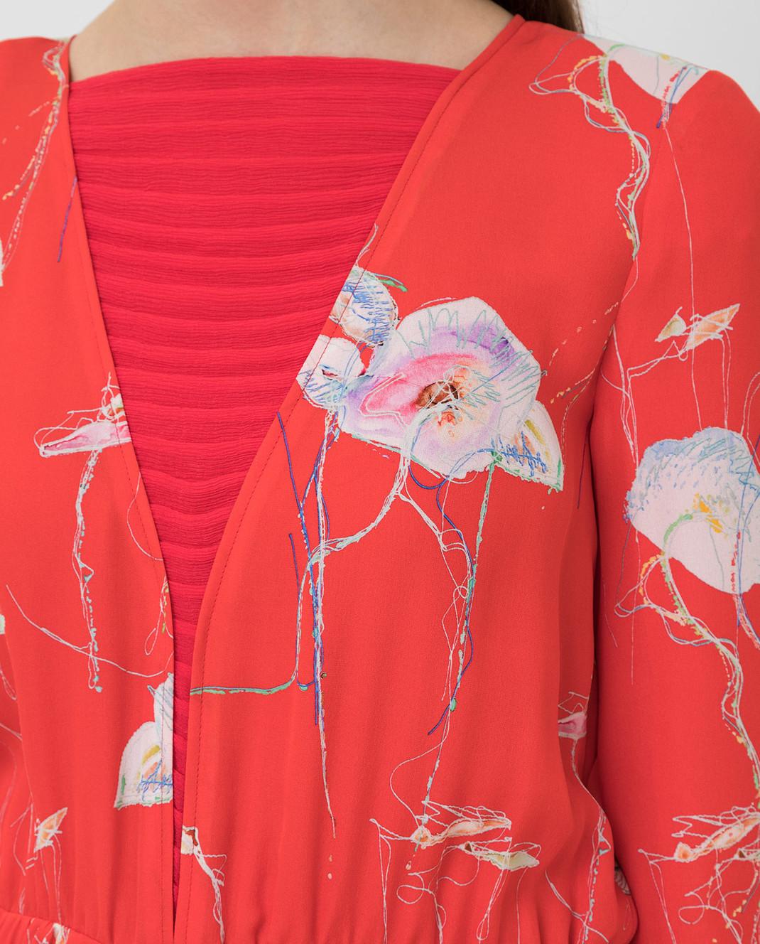 Armani Коралловое платье из шелка изображение 5