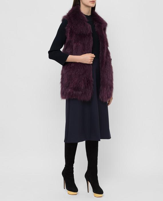 Фиолетовый жилет из меха лисы hover