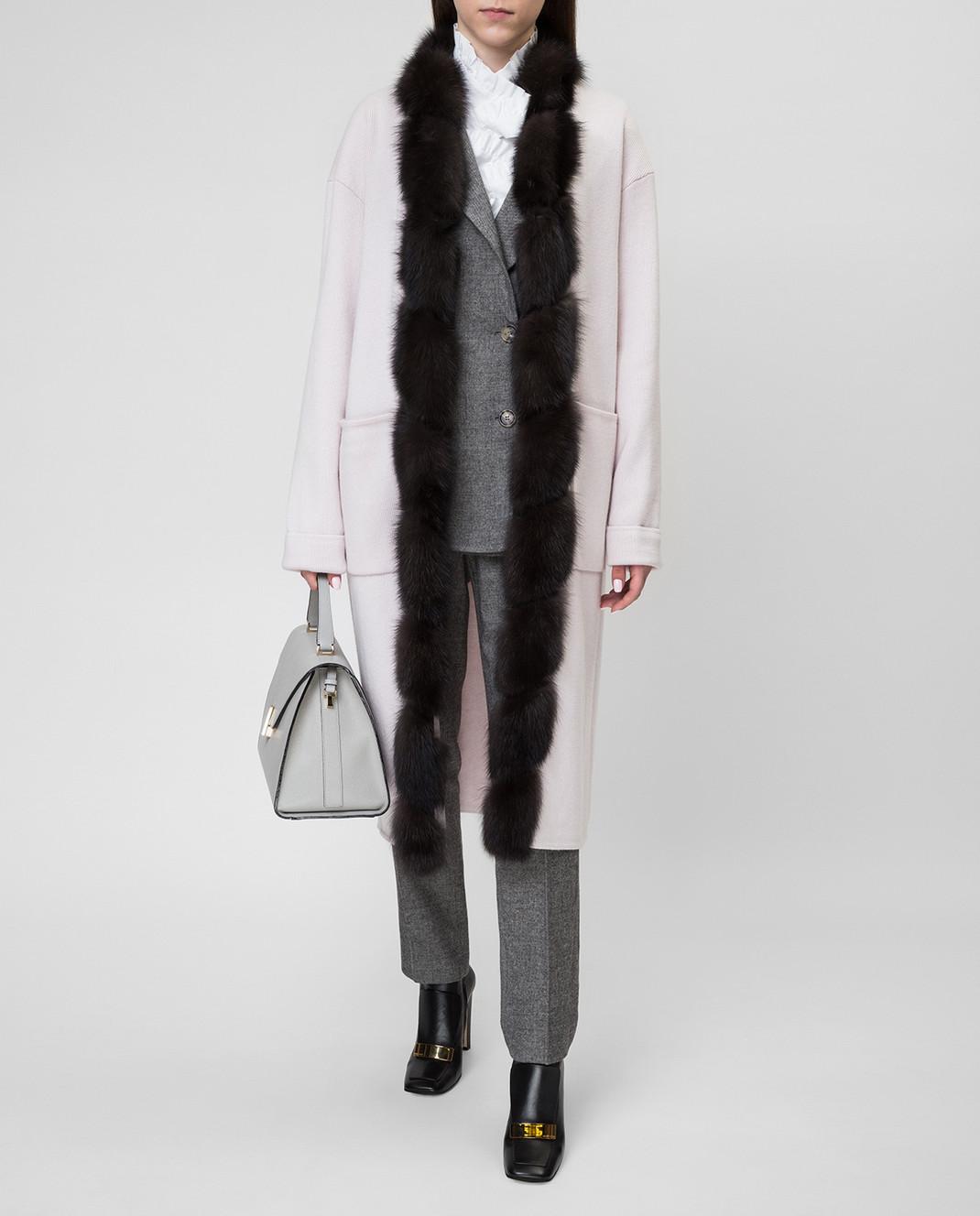 Real Furs House Светло-бежевое пальто CSR01 изображение 2