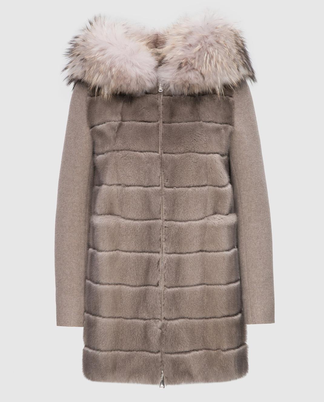 Real Furs House Бежевое пальто с мехом енота 922RFH