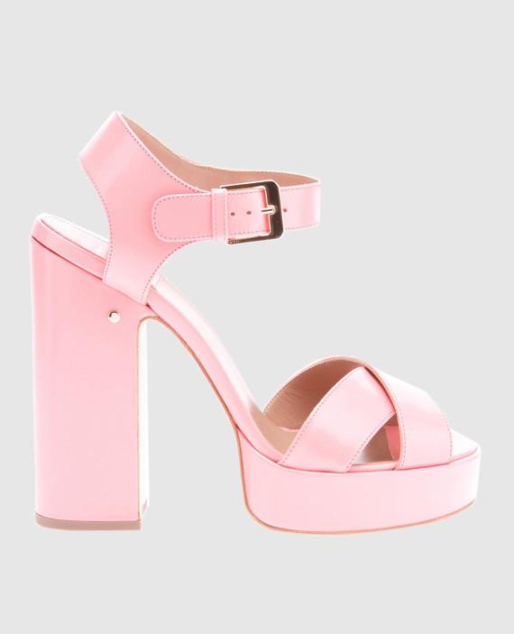 Розовые кожаные босоножки Rosange