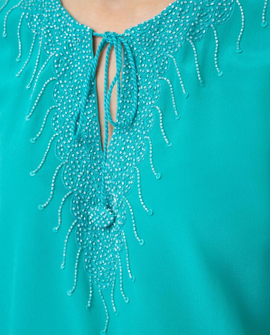 Taj by Sabrina Бирюзовая блуза из шелка SUSH1087 изображение 5
