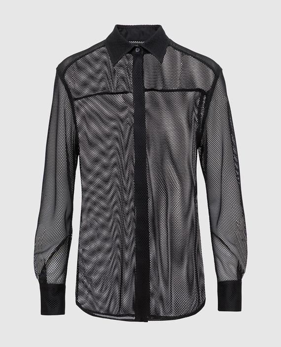 Черная рубашка в сетку