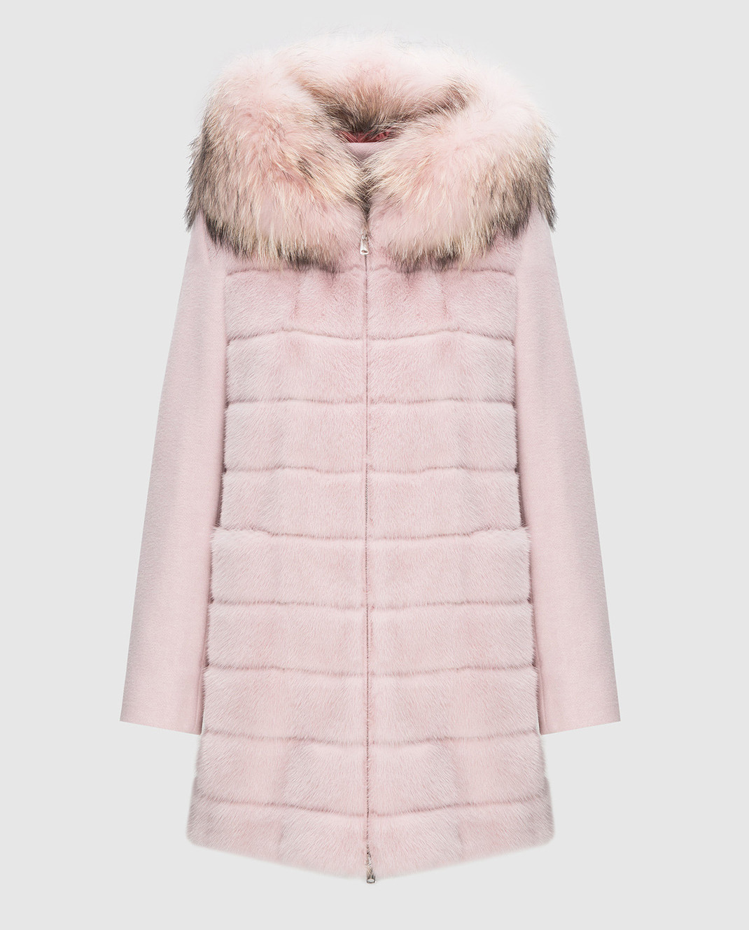 Real Furs House Розовое пальто с мехом енота 922RFH