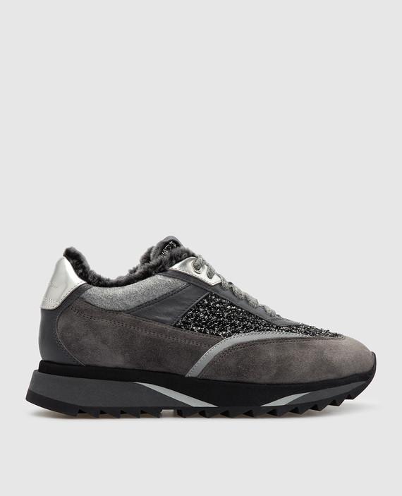 Темно-серые кроссовки на меху