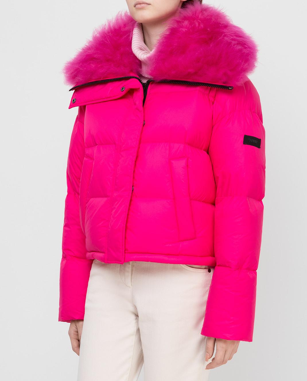 Yves Salomon Army Розовый пуховик с мехом ягненка изображение 3