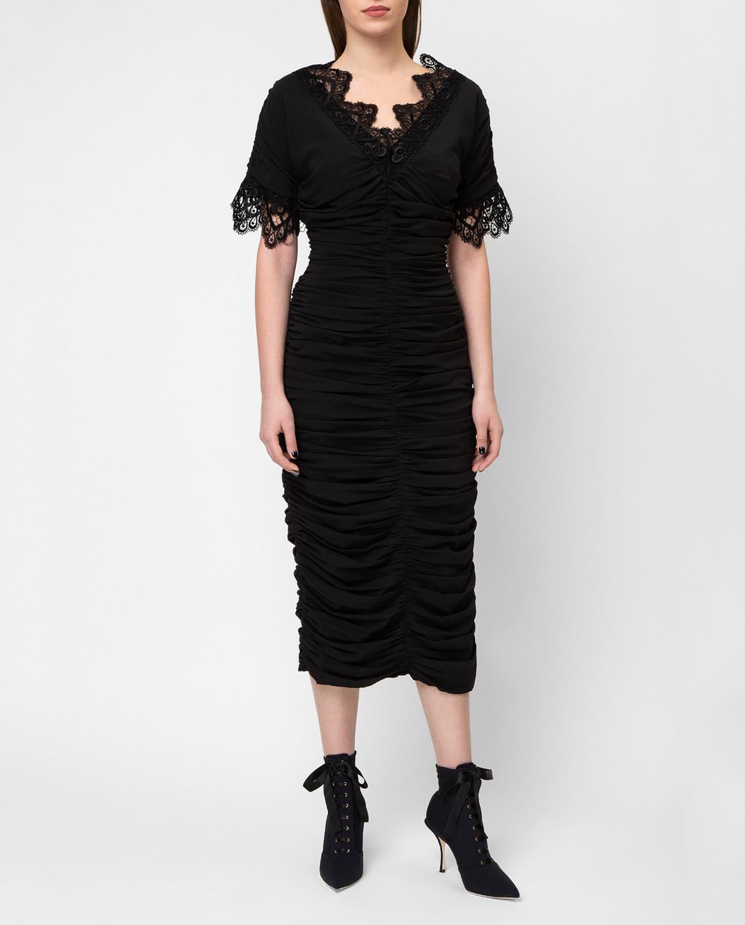 Dolce&Gabbana Черное платье F6A4QTFUABH изображение 2