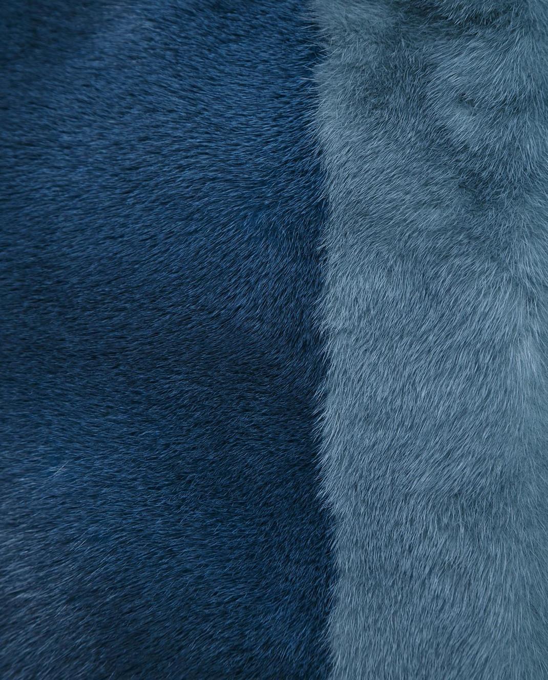 Florence Mode Бирюзовый полушубок из меха норки с митенками L1808BIS изображение 5
