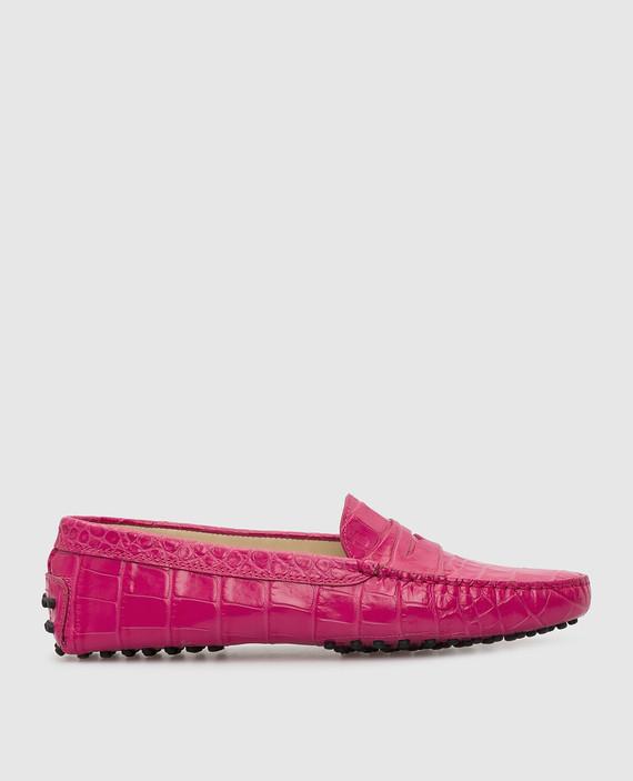 Розовые кожаные мокасины