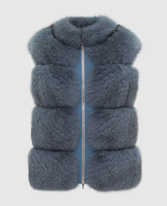 Синий жилет из меха лисы