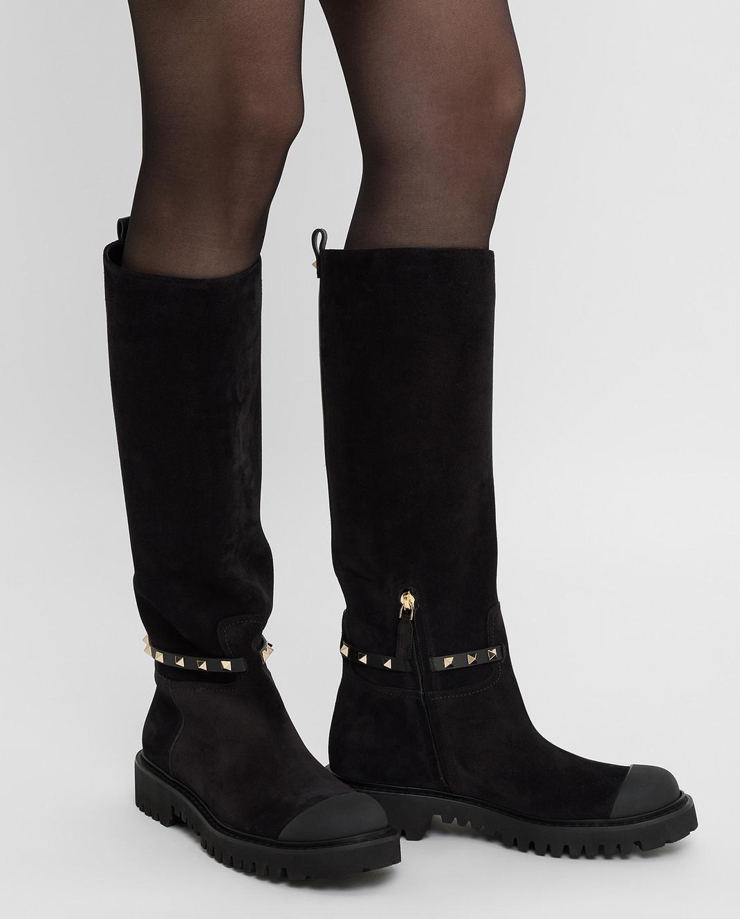Valentino Черные замшевые сапоги SW0S0S20IFW изображение 2