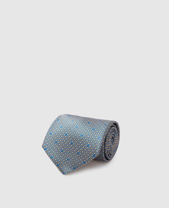 Синий галстук ручной работы из шелка
