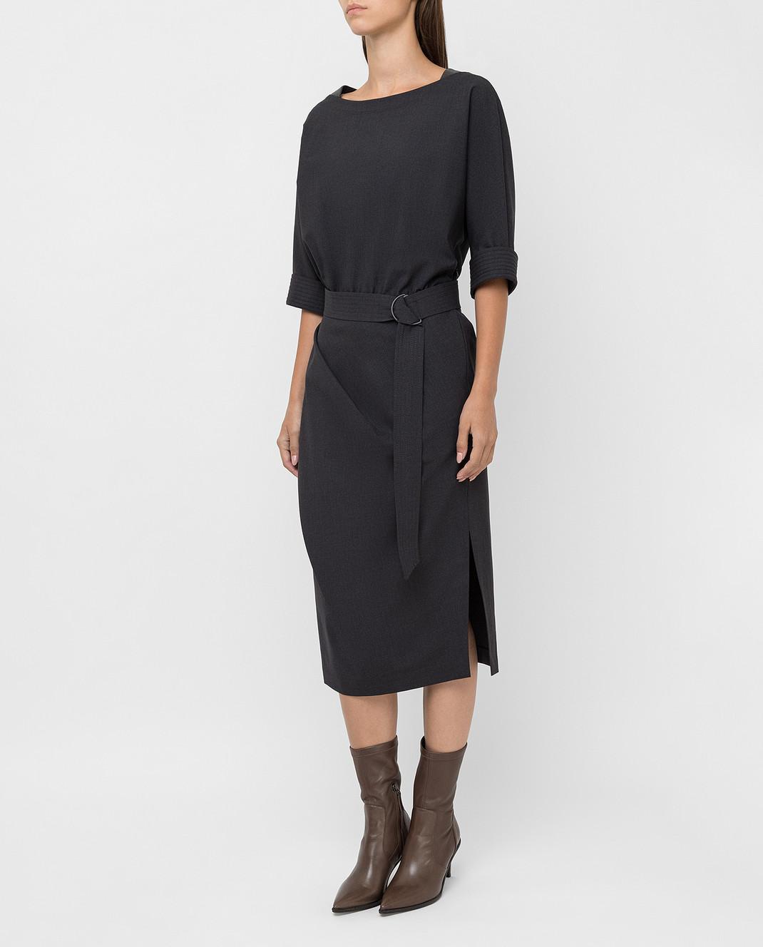 Brunello Cucinelli Темно-серое платье из шерсти изображение 3