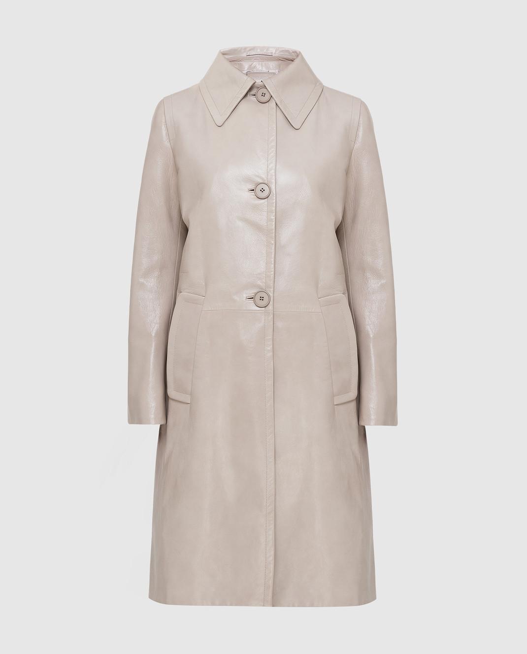 Prada Бежевое кожаное пальто 569031UKQ
