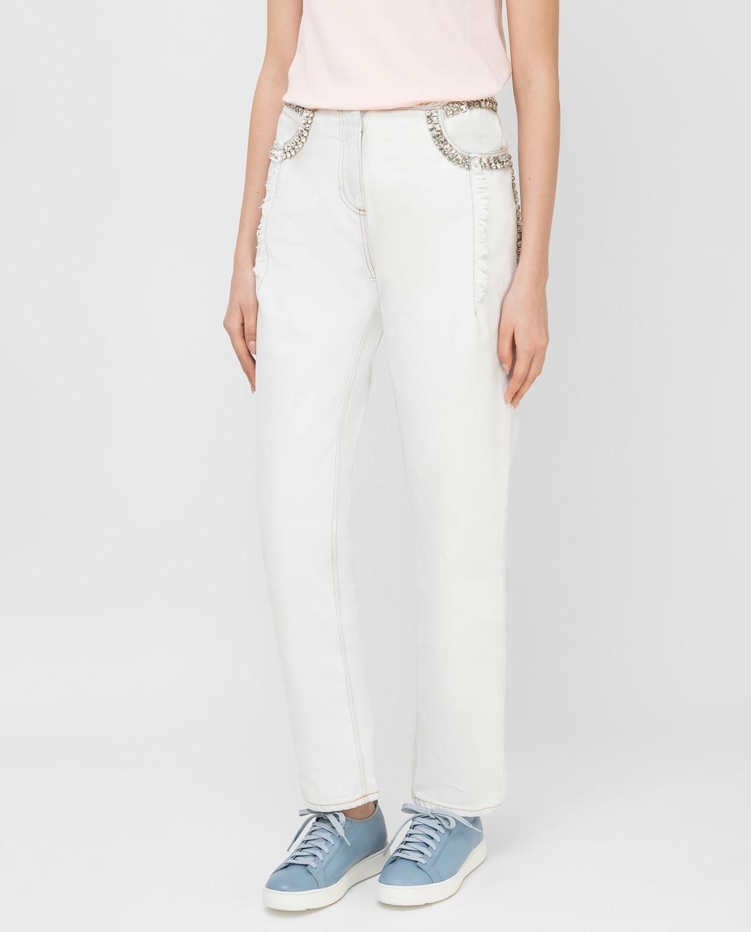 Roberto Cavalli Белые джинсы с кристаллами CKJ211 изображение 3
