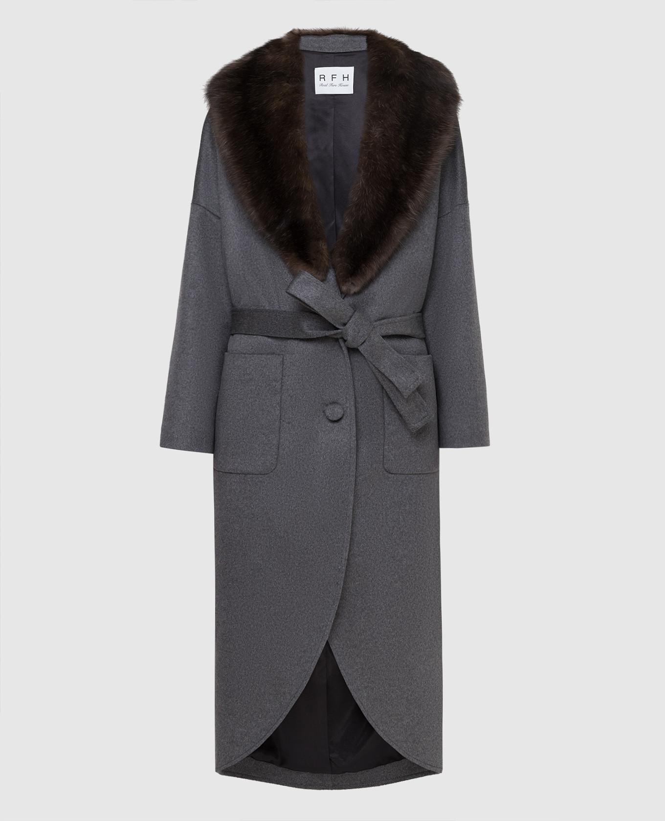 Серое пальто из кашемира с мехом соболя