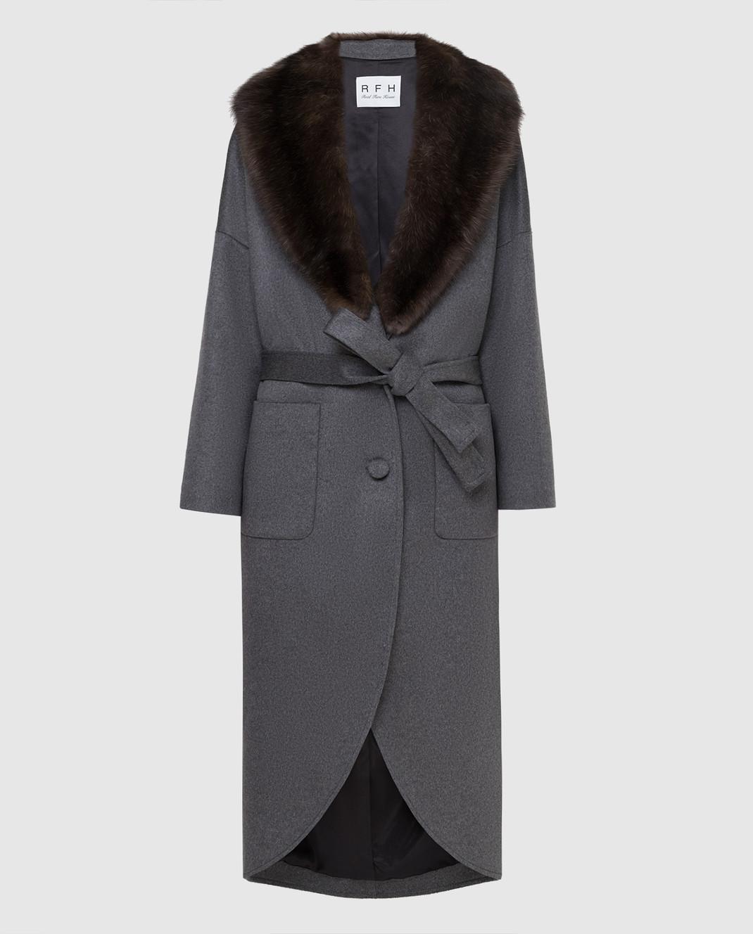 Real Furs House Серое пальто из кашемира с мехом соболя изображение 1