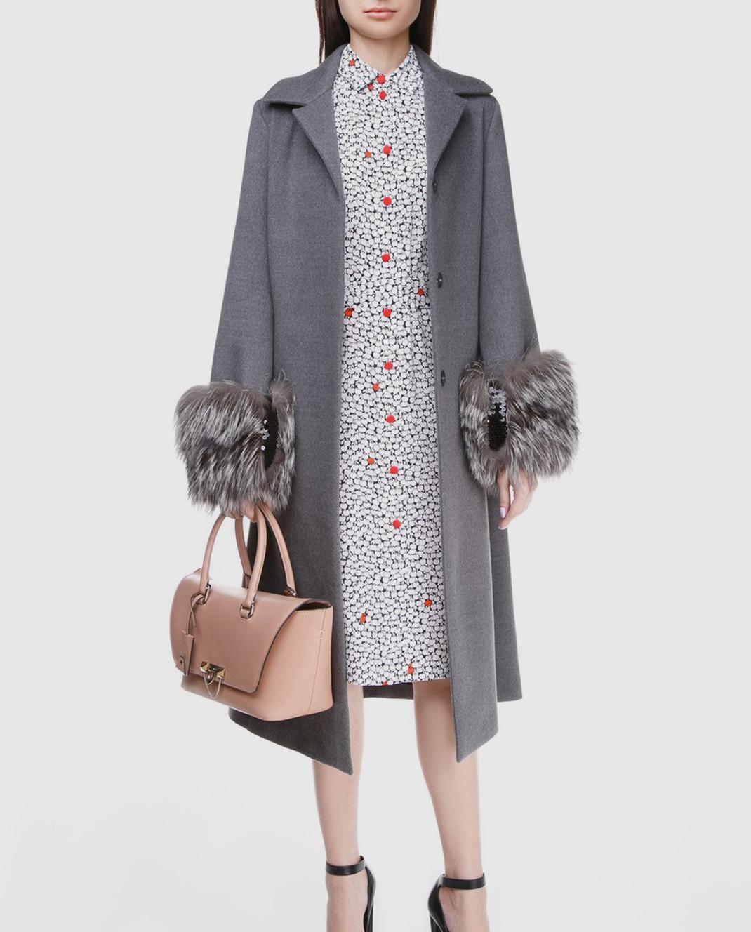 Simonetta Ravizza Серое пальто с мехом VENIS изображение 2