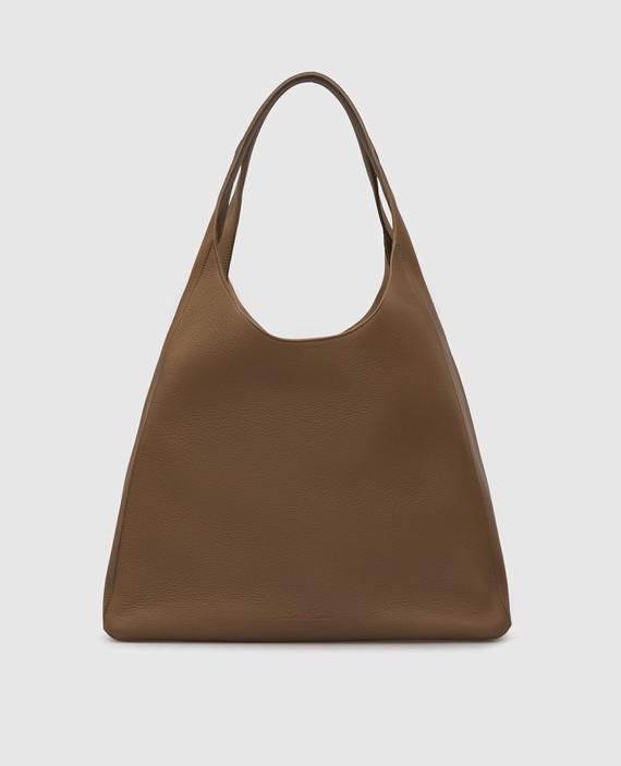 Темно-бежевая кожаная сумка