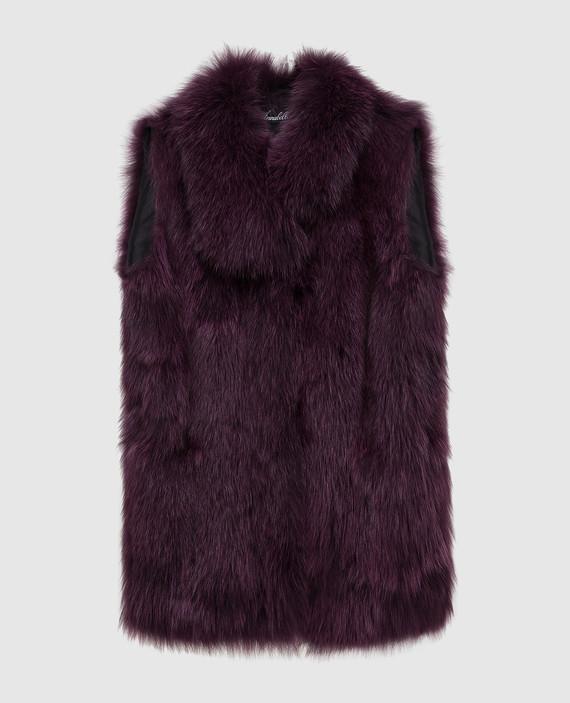 Фиолетовый жилет из меха лисы
