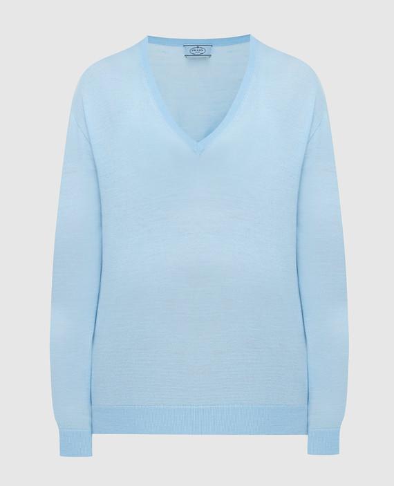 Голубой пуловер из шерсти